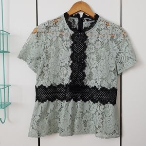Mint and black lace top